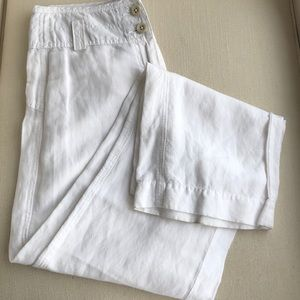 WHITE LINEN BLEND WIDE LEG PANTS